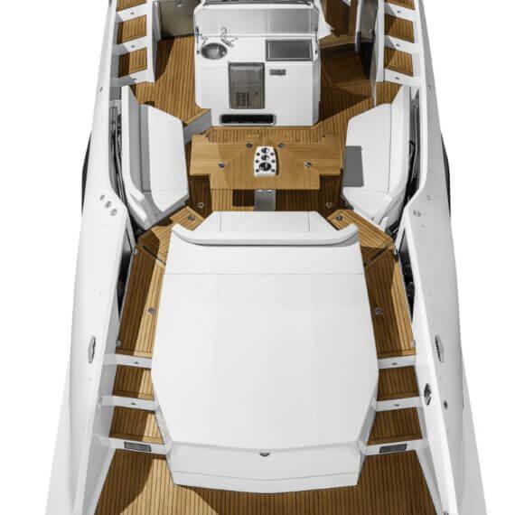 1414 Demon Motorboot weiß | Ansicht von oben |Badeplattform