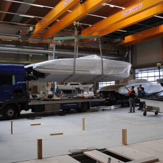 Manufaktur Frauscher Bootswerft |Produktionshalle Auslieferung