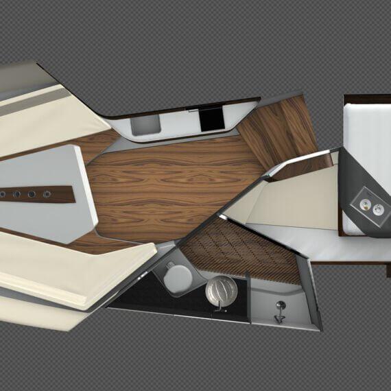 1414 Demon Motorboot weiß | Innenraum Aufteilung