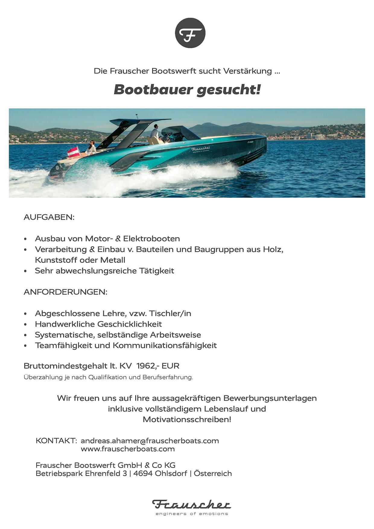Stellenangebot: Bootsbauer (m/w/d)