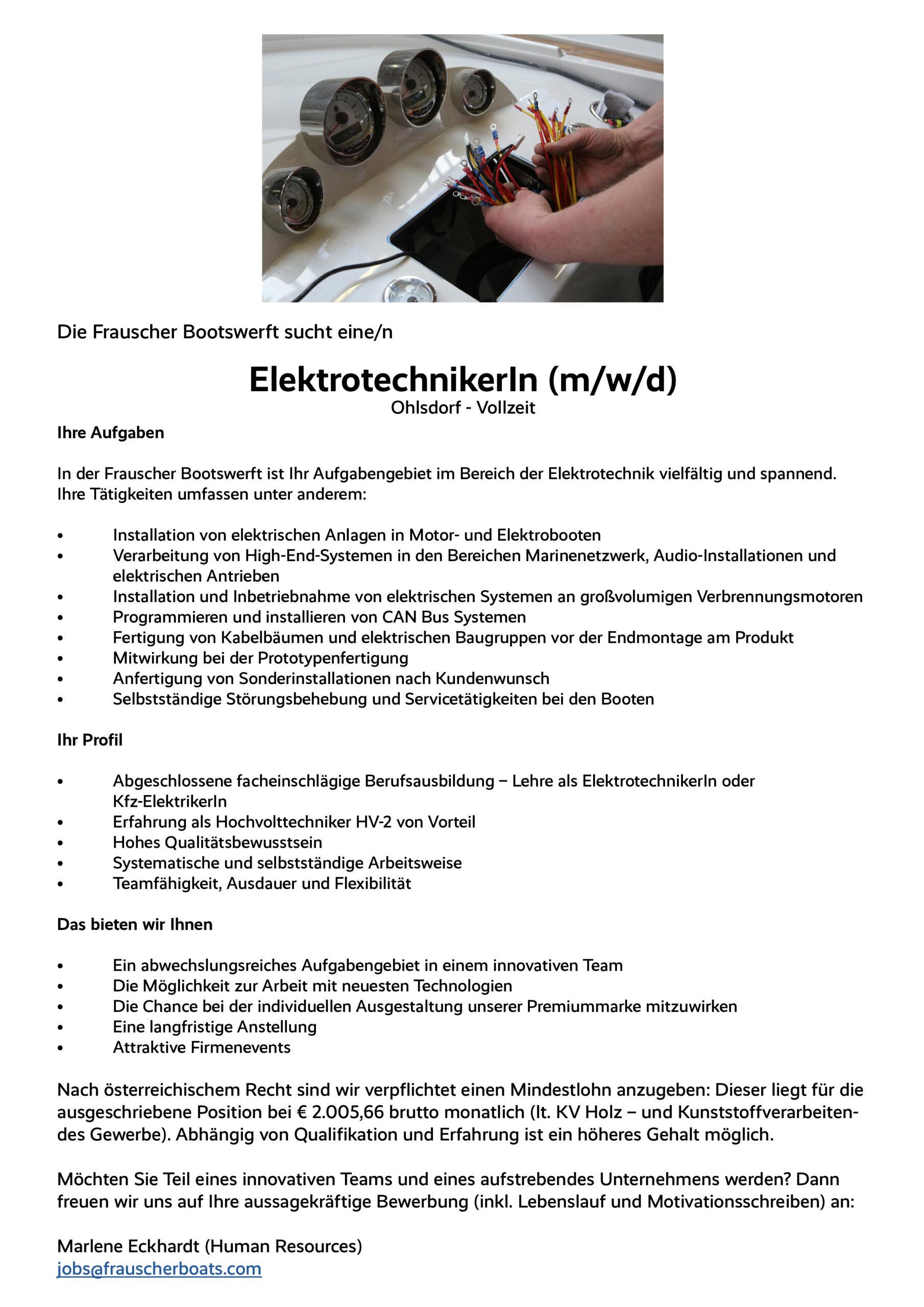 Stellenangebot: ElektrotechnikerIn