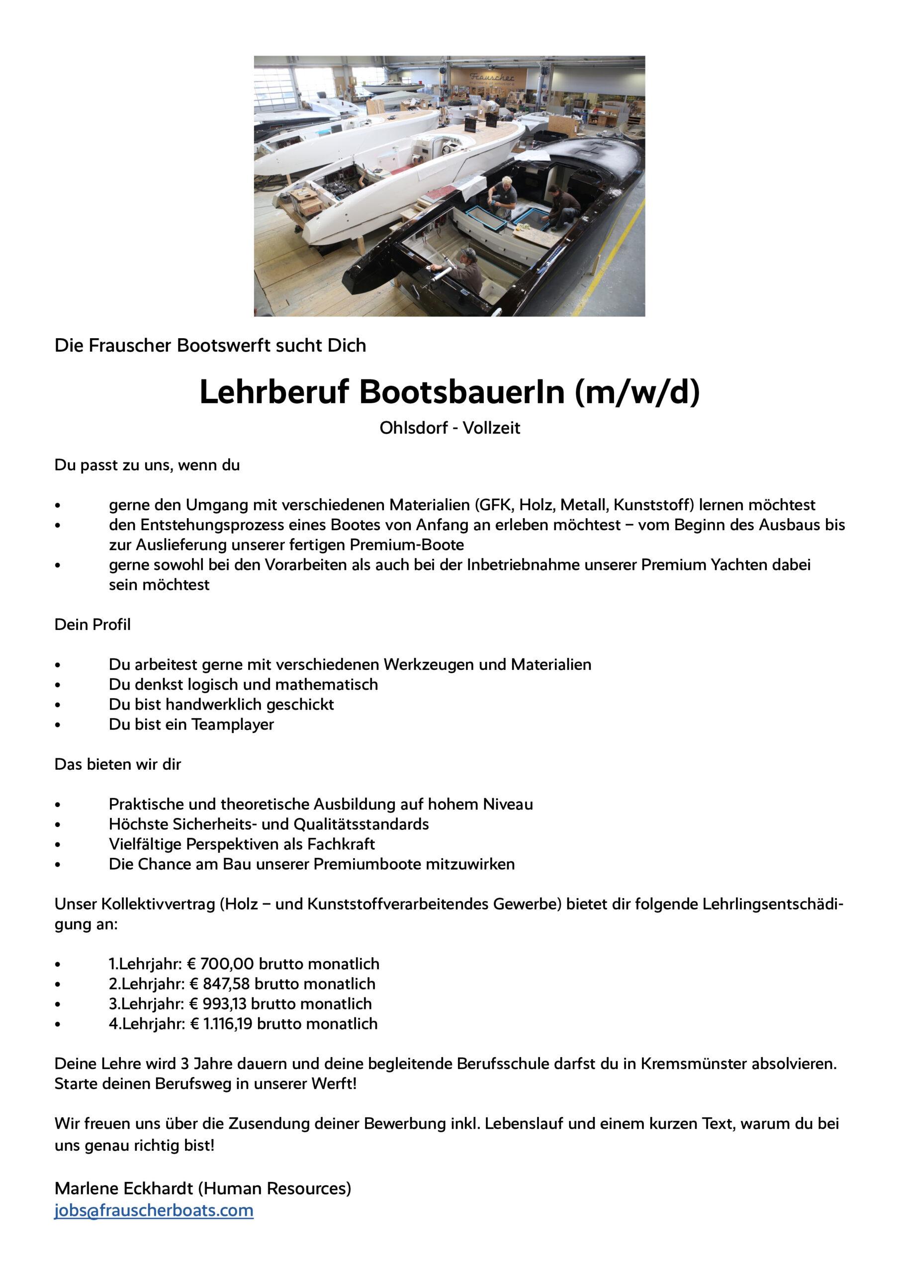 Stellenangebot: Lehrberuf BootsbauerIn