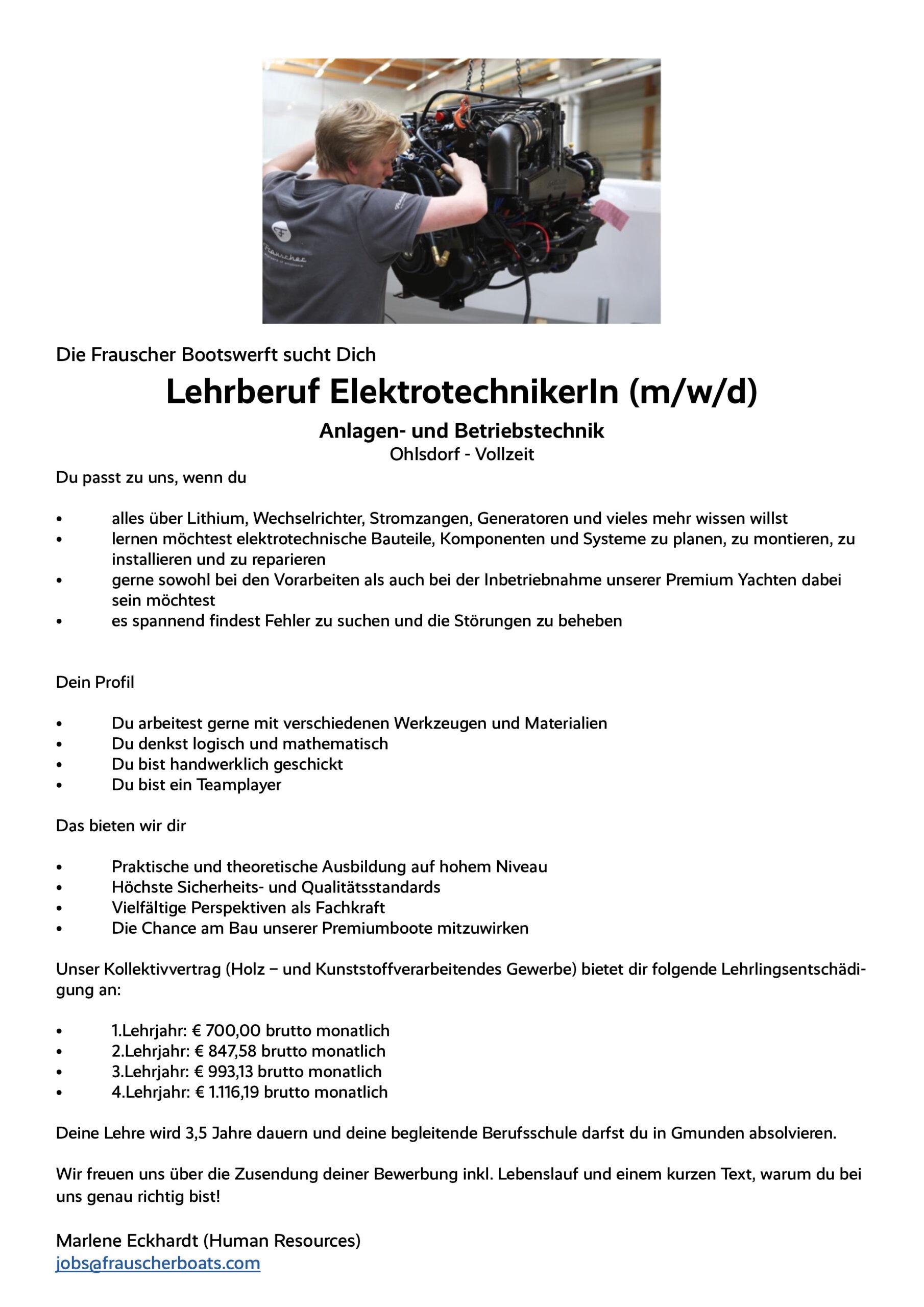 Stellenangebot: Lehrberuf ElektrotechnikerIn